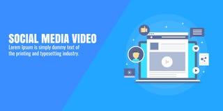 Sociale media, video marketing, videobevordering op sociaal netwerk, inhoud reclameconcept Vlakke ontwerp vectorbanner stock illustratie