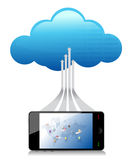 Sociale media wereldsmartphone die met een wolk wordt verbonden Royalty-vrije Stock Afbeeldingen
