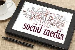 Sociale media woordwolk Stock Foto's