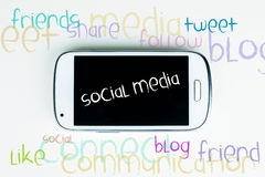 Sociale media woordwolk Stock Foto's