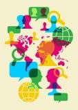 Sociale netwerk communicatie symbolen stock illustratie