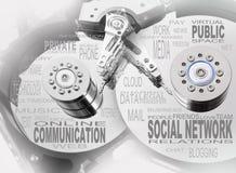 Sociale netwerk info-tekst grafiek. Stock Afbeeldingen