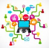 Sociale netwerkachtergrond met media pictogrammen royalty-vrije illustratie