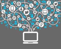 Sociale Netwerkachtergrond van de pictogrammenvector Stock Fotografie