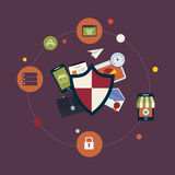 Sociale netwerkbeveiliging en gegevensbescherming Stock Afbeelding
