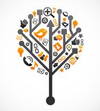 Sociale netwerkboom met media pictogrammen stock afbeeldingen
