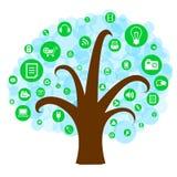 Sociale netwerkboom met media pictogrammen Stock Fotografie