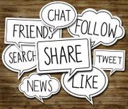 Sociale Netwerkconcepten in Toespraakbellen royalty-vrije stock foto