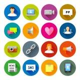 Sociale Netwerkenpictogrammen – Fllate-reeks Stock Illustratie