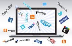 Sociale netwerklaptop Royalty-vrije Stock Foto's