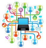 Sociale netwerklaptop ZINGT Stock Afbeeldingen