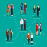 Sociale netwerkmedia globale mensen van het communicatie infographic het conceptenvector uitwisseling vlakke Web Bu van de voetst Royalty-vrije Stock Foto's