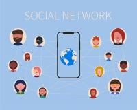 Sociale netwerkmensen en telefoon royalty-vrije illustratie