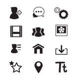 Sociale netwerkpictogrammen geplaatst Vectorillustratie Stock Foto