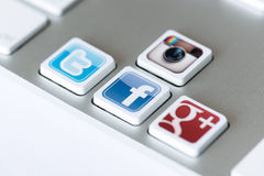 Sociale netwerksleutels Stock Foto