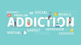 Sociale netwerkverslaving vector illustratie