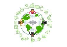 Sociale Netwerkwinkel online weinig menselijke karakterx4 Zitting, met computers, stock illustratie