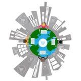 Sociale Netwerkwinkel online weinig menselijke karakterx4 Zitting, met computers, in een cirkel rond de Mensen van de Bol Transpa royalty-vrije illustratie