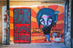 Sociale straatgraffiti in Spanje Royalty-vrije Stock Foto