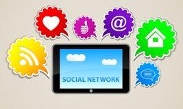 Sociale van het tekeninternet van het netwerkpictogram de tabletknoop Royalty-vrije Stock Afbeelding