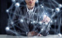 Sociale verbinding als bedrijfshulpmiddel Gemengde media Stock Afbeelding