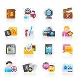 Sociale voorzien van een netwerk en communicatie pictogrammen Royalty-vrije Stock Fotografie