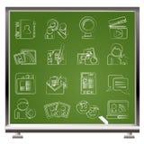 Sociale voorzien van een netwerk en communicatie pictogrammen Stock Fotografie