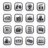 Sociale voorzien van een netwerk en communicatie pictogrammen Royalty-vrije Stock Foto