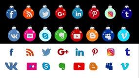 Sociale Voorzien van een netwerkpictogrammen Stock Afbeelding