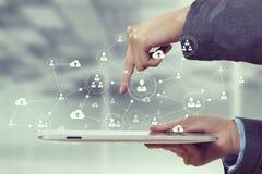 Sociale voorzien van een netwerkverbinding Gemengde media Stock Afbeelding