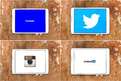 Sociale voorzien van een netwerkwebsites facebook, tjilpen, instagram, linkedin Stock Foto's