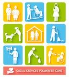 Sociale voorzieningenpictogrammen geplaatst vlak Royalty-vrije Stock Foto's
