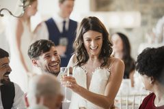 Socialising With Our Wedding Guests stock photography