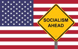 Socialism Ahead Warning Sign. Socialism Ahead Caution Sign Flag Background royalty free stock image