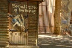 Socialism or barbarism. Segovia,Spain,September 20, 2016: USSR - Socialism or barbarism is still a question stock image