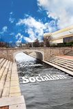 Socialism down the River. Socialism going down the river and floating stock photos