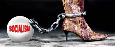 Socialism the new ball and chain stock image