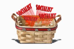 Socialist in a basket. Socialist in a wicker basket wanting to get out royalty free stock photo