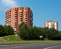 Socialist Block Flats Neighborhood. Typical Socialist Blocks of Flats Built During Communism Period in Vilnius, Lithuania Royalty Free Stock Photos