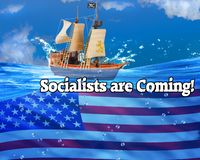 Socialist are Coming. By sea and land royalty free stock images