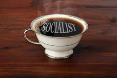 Socialist Fresh Coffee. Hot fresh Socialist black coffee ready to start the day royalty free stock image