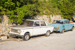 The socialist legacy of Yugoslavia in the parking in Kusturica Drvengrad in Serbia Stock Photography
