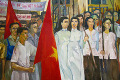 Socialist Realism in Ho Chi Minh City. Painting in the Independence Palace in Ho Chi Minh City, Vietnam, depicting the Liberation of Saigon by the Vietcong Stock Image