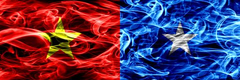 Socialist Republic of Viet Nam vs Somalia, Somalian smoke flags placed side by side. Thick colored silky smoke flags of Vietnam an. D Somalia, Somalian vector illustration