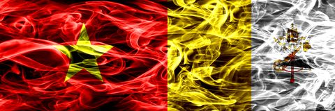 Socialist Republic of Viet Nam vs Vatican city smoke flags placed side by side. Thick colored silky smoke flags of Vietnam and Vat. Ican city royalty free illustration