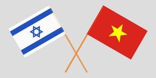 Socialistische Republiek Vietnam en Israël De Vietnamese en Israëlische vlaggen Officiële kleuren Correct aandeel Vector royalty-vrije illustratie