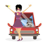 The socialite fashionista girl doing selfie near the car. The woman clubber. Character vector flat illustration people. Royalty Free Stock Photo