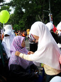 Socialize hijab. Muslim women to socialize hijab on the street in the city of Solo, Central Java, Indonesia Stock Photography