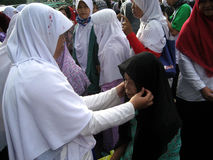 Socialize hijab. Muslim women to socialize hijab on the street in the city of Solo, Central Java, Indonesia Royalty Free Stock Photo