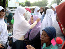 Socialize hijab. Muslim women to socialize hijab on the street in the city of Solo, Central Java, Indonesia Royalty Free Stock Photos